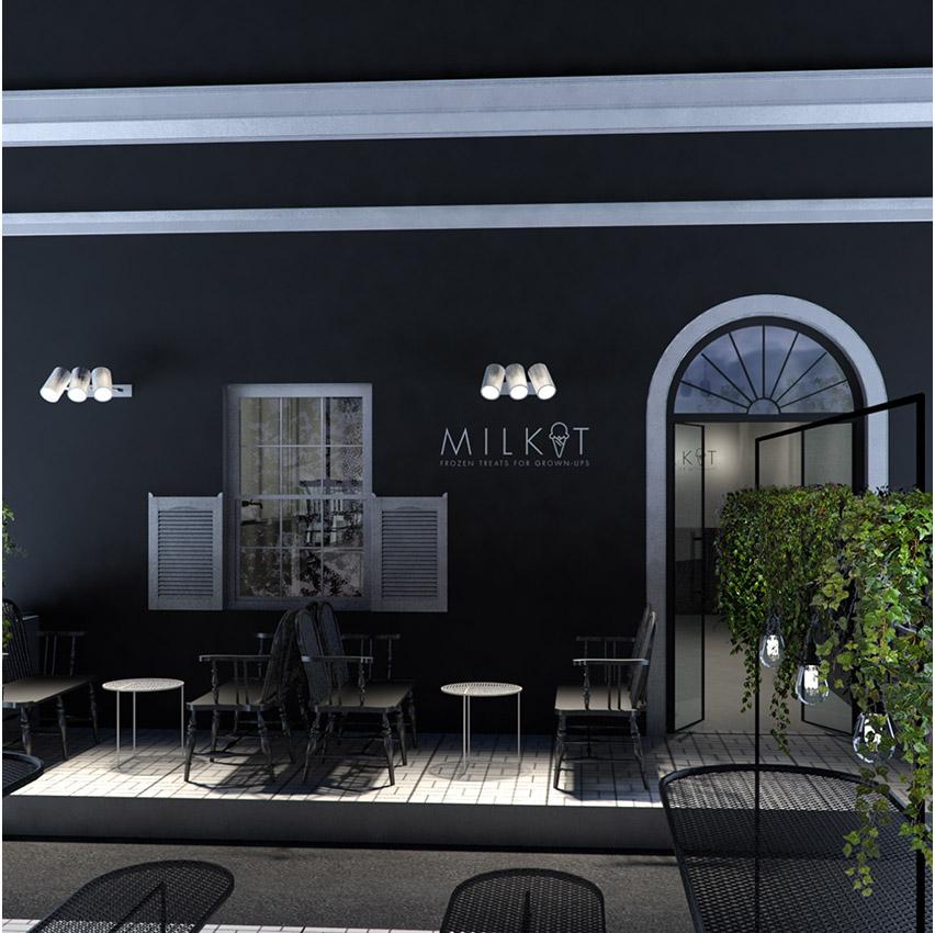interior design milkit restaurant 3d rendering